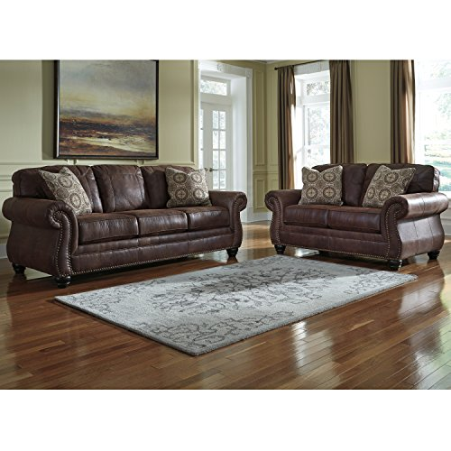 Flash Furniture Benchcraft Breville Living Room Set in Espresso Faux Leather (Reception Leather Faux)