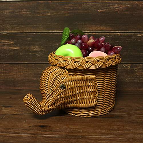CVHOMEDECO. Elephant Design Imitation Rattan Fruit Basket Bread Basket Storage Basket Resin Wicker Artificial Plant Holder. Light Brown, 11-1/2''L by CVHOMEDECO. (Image #1)