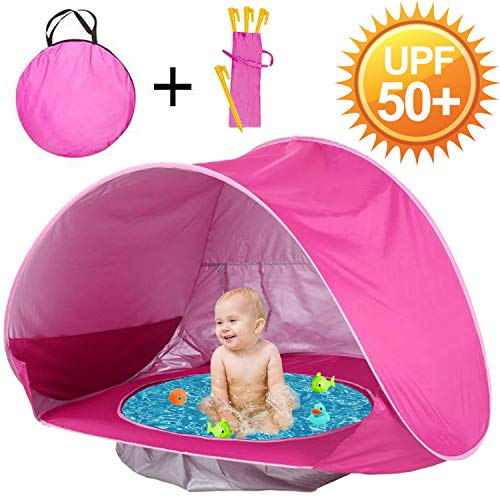 GBD Baby Beach Tent, Pop Up Beach Tent for Kids Toddlers Infant Kiddie Pools Zipper Portable Shade Pool UV Protection Camping Sun Shelter Summer Outdoor Beach Tent Sand Toys Boys Girls (0-48month)
