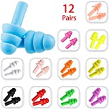 Colorsky 12 Pairs Ear Plugs Noise Cancelling Reusable Earplugs for Sleeping and Swimming, 12 Assorted Colors
