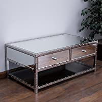 Ryanne Studded Mirrored 2-Drawer Coffee Table