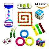 WLX Increase Focus and Relieves Stress Bundle Sensory Twisted Squeeze Fidget Toys Set-Liquid Motion Timer/Spiky Sensory Ring/Wacky Tracks/Twist Toys/Infinity Cube For Kids and Adults