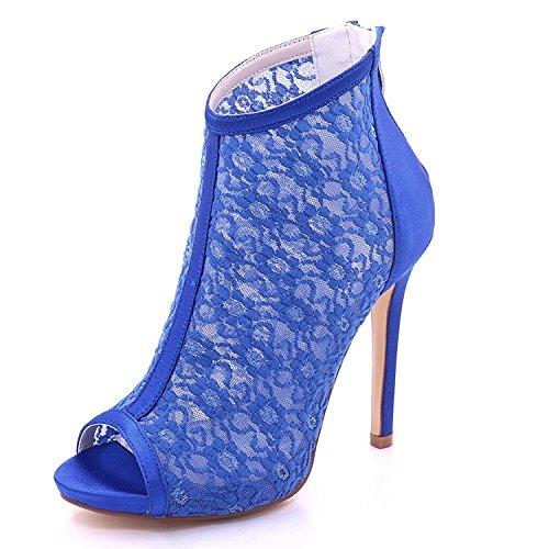 L@YC Women's Wedding 7216-01E Sandals Satin and Lace Peep Toe High Heel Zipper Bridesmaid Blue pOrZG