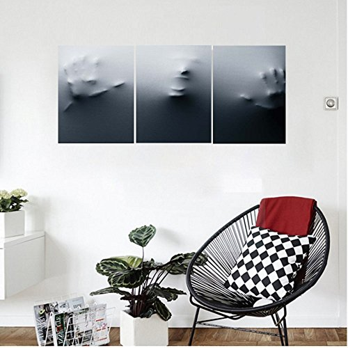 Horror Face Painting Ideas (Liguo88 Custom canvas Horror House Decor Vision of Fearful Shouting Person Phobia Suffering Man Trapped Painful Shady Wall Hanging for Bedroom Living Room Gray)