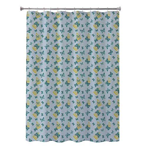(Robert L Brock boy Shower Curtain Birdcage Exotic Butterflies Artistic Wings Flying Among Birdcages Pale Grey Seafoam Earth Yellow Fabric Shower Curtain 36 by 72)