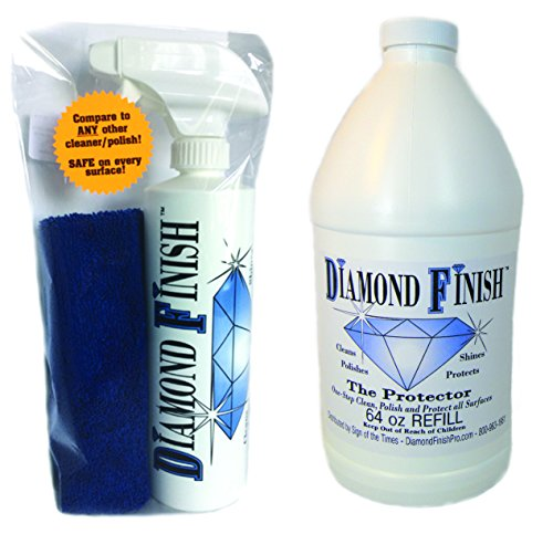 DIAMOND FINISH The Protector Spray Kit 80oz Waterless All-in-One Cleaner & Polish Motorcycle Cleaner Car Cleaner - Removes Bugs, Brake Dust, Tree Sap, Grease, Road Tar, Bird Dropping While it (Ultimate Buffing Cloth)