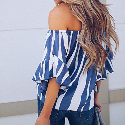 Courte FMinine Ray Cravate Bleu blouse Chemises Avant DContractEs Imprim Mode Lenfesh Manche YaTIxa