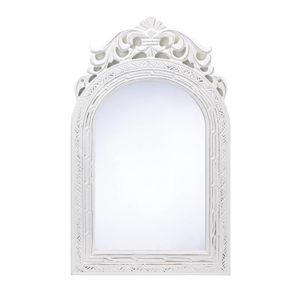 20'' Shabby Chic Wood Arched-Top Wall Mirror