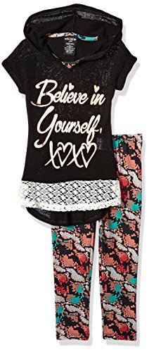 XOXO Girls' Toddler 2 Piece Hooded Top and Printed Legging Set, Black, 2T