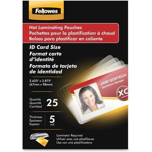 52015 Fellowes Glossy Pouches - ID Tag not punched, 5 mil, 100 pack - 2.63'' Width x 3.88'' Length x 5 mil Thickness - Type G - Glossy - Pre-trimmed, Durable, Unpunched - 100 / Pack - Clear