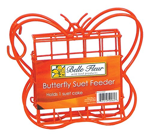 Belle Fleur Butterfly Suet Bird Feeder, Red, One Suet Cake Capacity Review