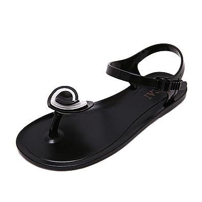 199c1879b GIY Women s Clear Flip Flop Studded Jelly Sandals Transparent PVC Summer Beach  Flat Jellies Water Sandals