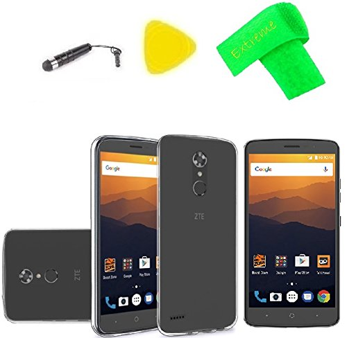 TPU Flexible Skin Cover Case + Screen Protector + Extreme Band + Stylus Pen + Pry Tool For ZTE MAX XL N9560 / ZTE Blade Max 3 Z986U / ZTE ()