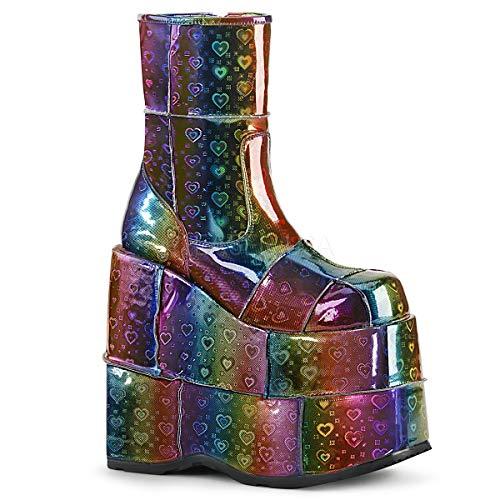 Platform Stack Heel Boots - Demonia Men's Stack-201 Platform Boots
