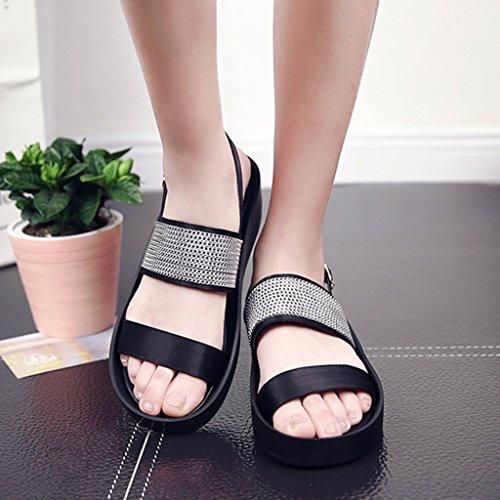 Sandals ZCJB Summer Women Casual Shoes Flat Beach Shoes (Color : Black, Size : 40) Black