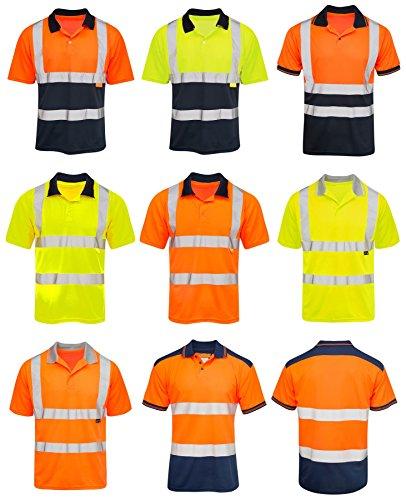 Shelikes Mens Hi Vis VIZ Visibility Polo Contrast 2 Two Tone Workwear Tshirt Tee Top