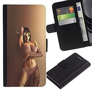 A-type (Sexy Breast Lingerie Elf Girl Woman Brown) Colorida Impresión Funda Cuero Monedero Caja Bolsa Cubierta Caja Piel Card Slots Para Sony Sony Xperia Z1 Compact / Z1 Mini (Not Z1)