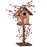 Lighted Rustic Country Berry Birdhouse Tabletop Figurine with Remote Control