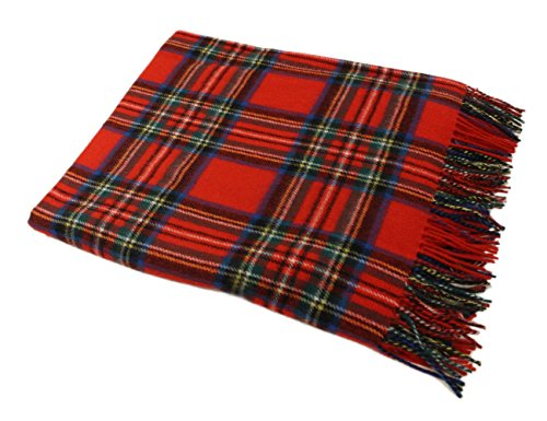 "Blankets Tartan Wool (John Hanly Royal Stewart Plaid Wool Throw Blanket 54"" by 71"" Made in Ireland)"