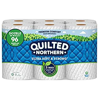 Quilted Northern Ultra Soft and Strong Earth-Friendly Toilet Paper, 48 Double Rolls = 96 Regular Rolls, 164 2-Ply Sheets Per Roll (Packaging May Vary)