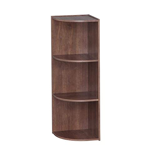 IRIS USA, Inc. 3-Tier Corner Curved Shelf Unit Organizer Brown