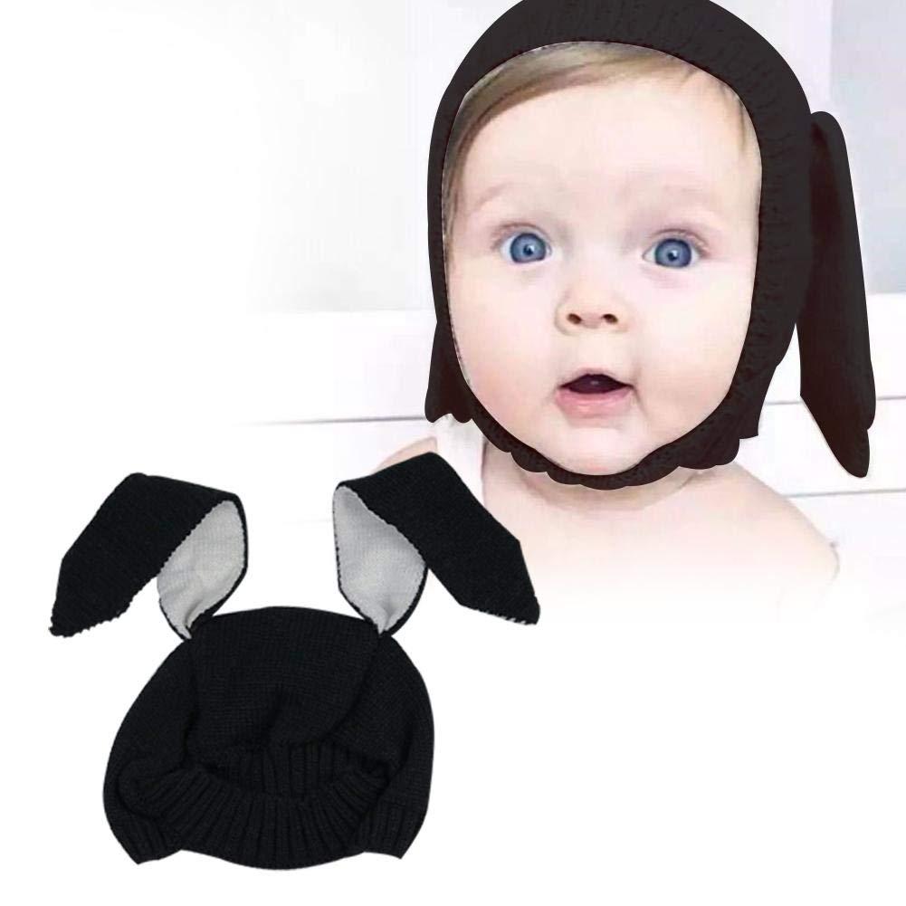 Ins Children Hat Hat Innovative Animal Shape Sombrero de Lana Soft Warm Cute Orejas de Conejo Sombrero de punto Baby Autumn and Winter Hat//Gray