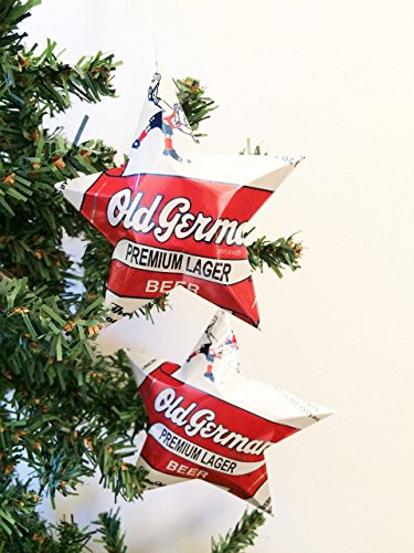 (Old German Premium Lager Beer Can Stars, Recycled Aluminum Beer Can Stars, Upcycled Can, Christmas)