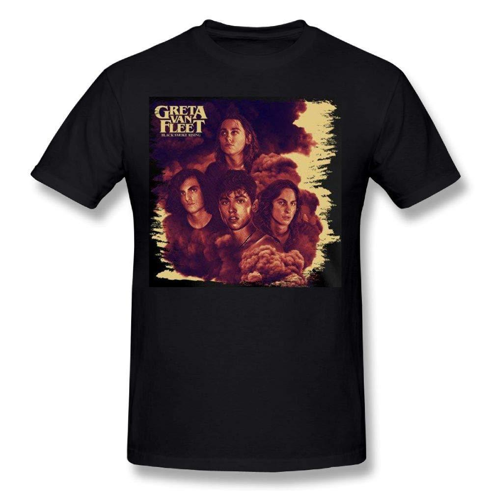 AnnaBGuillaume Mens Greta Van Fleet Black Smoke Rising Girl Music Band Regular Fit Shirt Tee Black
