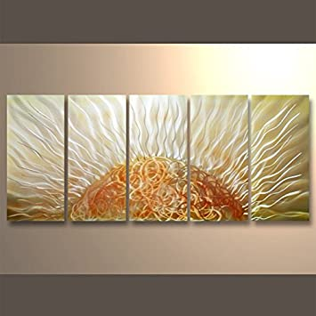 Amazon.com: Metal Wall Abstract Warm Color Tones Oil Painting Hand ...