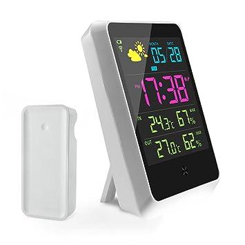Jandrun - Reloj y estación meteorológica digital, pantalla LCD, detectores inalámbricos, para previsión