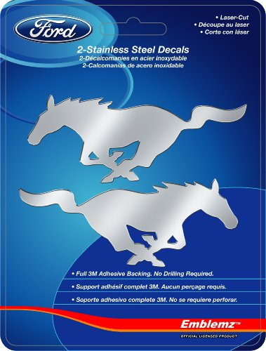 (Chroma Graphics 1201 Silver SM Ford Mustang 2pc Stainless Emblem, 2 Pack)