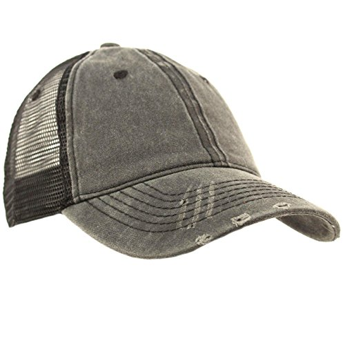 (Unisex Distressed Low Profile Trucker Mesh Summer Baseball Sun Cap Hat Dk. Gray)