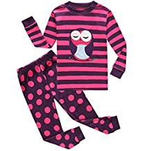 Family Feeling Owl Little and Big Girls 2 Piece 100% Cotton Pajamas Sets Kids Pjs