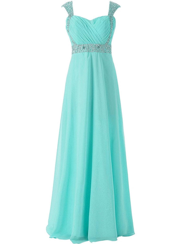 JAEDEN Cap Sleeve Long Bridesmaid Dresses Chiffon Prom Party Gown