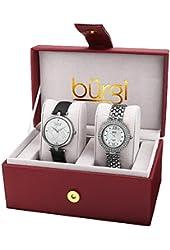Burgi Women's BUR152SS Analog Display Quartz Black Watch Set