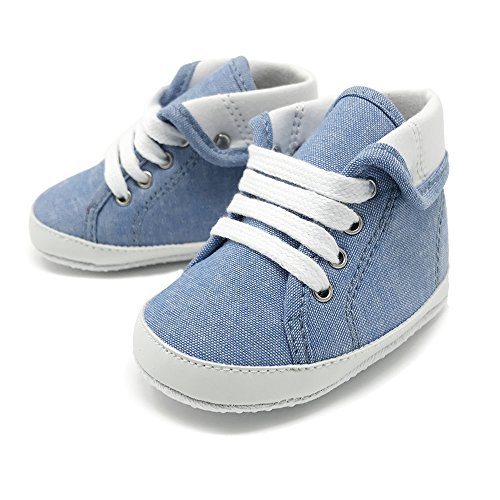 Frills Infant Toddlers Baby Boys and Girls Soft Soled Crib Shoes PU Sneakers - Blue Foldover (for ages 6-12 months/11 cm. length) Designer Infant Shoes