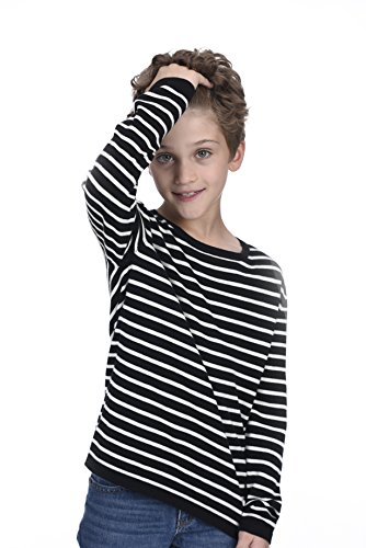 - State Cashmere Kids Striped Round Neck Long Sleeve Cotton Cashmere Sweatshirt Black/White