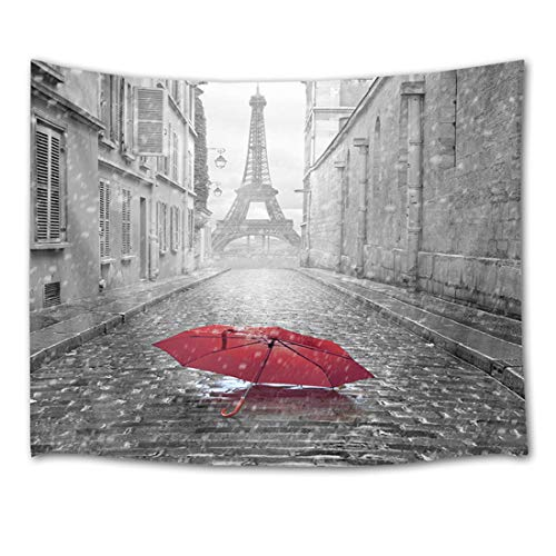 HVEST Paris Tapestry Eiffel Tower Tapestry Wall Hanging City View from The Street of Paris Black and White Photo with Red Umbrella Wall Blankets for Bedroom Living Room Dorm Decor,60W X 40H inches