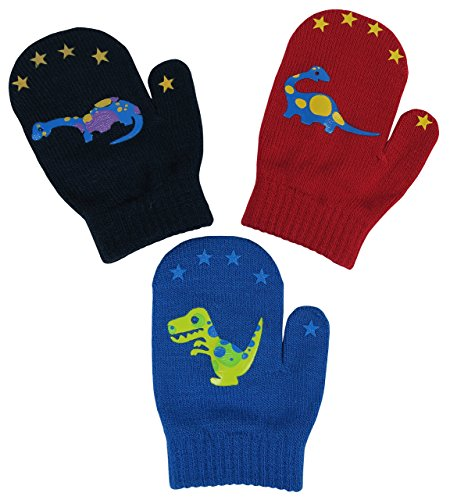 N'Ice Caps Little Boys and Infants Magic Stretch Mittens 3 Pairs Assortment (6-18 Months, Dinos - Red/Royal/Black)