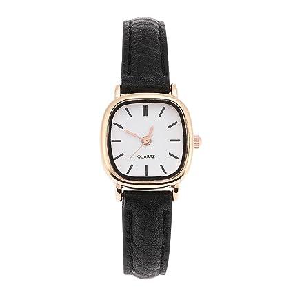 Sonew Relojes de cuarzo para mujer Reloj de pulsera analógico de diseño simple Correa de cuero