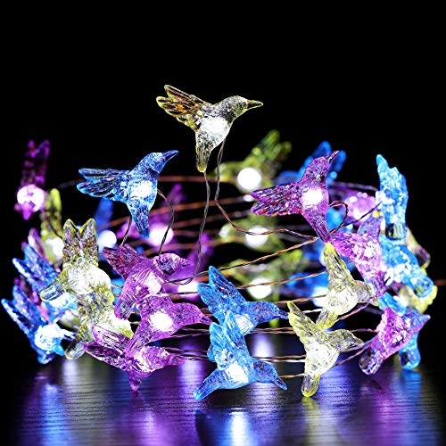 Manvi Festive Fairy String Lights, Hummingbird Flexible Copper Wire 10 ft 40 LEDs with Remote for Bird Lover, Wedding, Spring, Garden, Birthday Party Home Decorations (String Lights Solar Hummingbird)