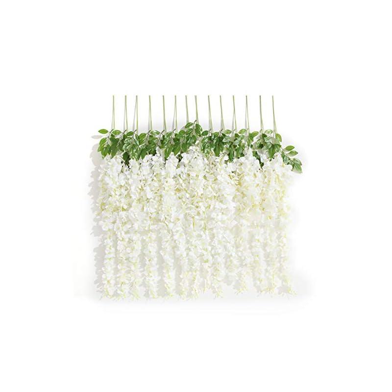 silk flower arrangements huata 10pcs 3.2 feet artificial flower silk wisteria vine ratta hanging wedding decor garlands(white)