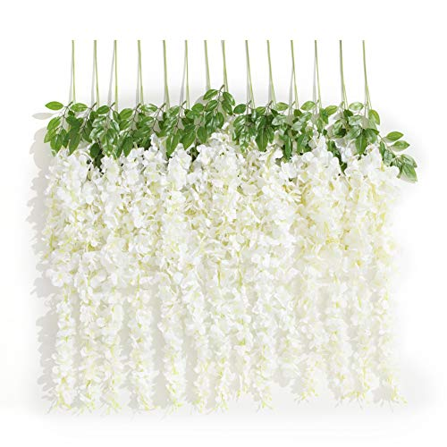 Huata 10PCS 3.2 Feet Artificial Flower Silk Wisteria Vine Ratta Hanging Wedding Decor Garlands(White)