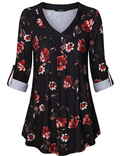 Floral Pleated Blouse - Lotusmile Women's V Neck 3/4 Cuff Sleeve Pleated Casual Blouse Floral Print Tops Tunic Shirt (Multicolor Black, XX-Large)