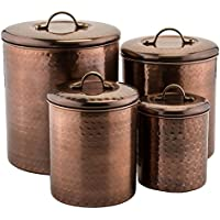 4 Piece Old Dutch Copper Canister Set