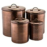 Old Dutch 4 Piece Hammered Canister Set, Antique Copper