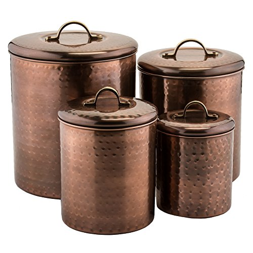 Old Dutch 1843 Old Dutch Hammered Canister (Set of 4), Antique Copper, 4 quart/2 quart/1½ quart/1 quart (Vintage Storage Canisters)