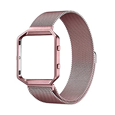 For Fitbit Blaze Bands, UMTELE Stainless Steel Milanese Magnetic Bracelet Replacement Band with Metal Frame for Fitbit Blaze Watch Large Small