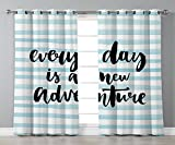 Thermal Insulated Blackout Grommet Window Curtains,Adventure,Every Day is a New Adventure Quote Inspirational Things About Life Artwork,Baby Blue Black,2 Panel Set Window Drapes,for Living Room Bedroo