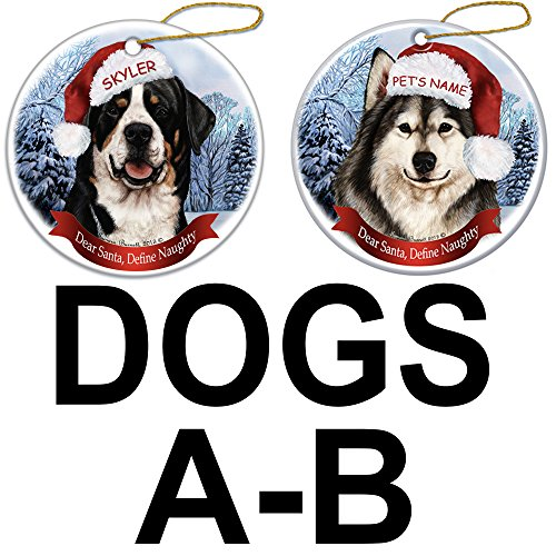 (Customizable Howliday Christmas Ornament - With Your Pet's Name - Dear Santa Define Naughty (Dogs A-B))